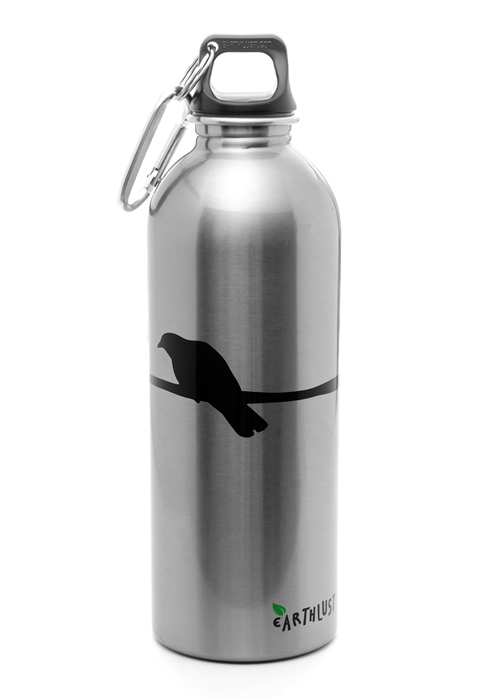 Earthlust 1 Liter Silver Crow Stainless Steel Metal Water
